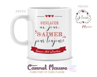 "Gift Valentine's day mug custom ""hugging one day, love forever"" - Valentine's day gift idea"
