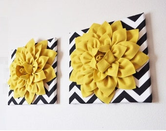 "TWO - Wall Flower -Mellow Yellow Dahlia on Black and White Chevron 12 x12"" Canvas Wall Art- 3D Felt Flower Living Room Home Decor Christmas"