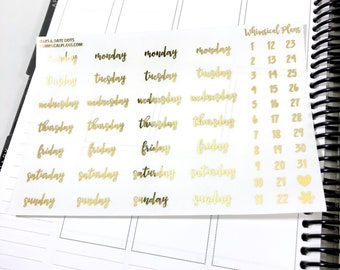 Days & Date Dots FOIL | Matte Glossy Clear Foiled Planner Stickers