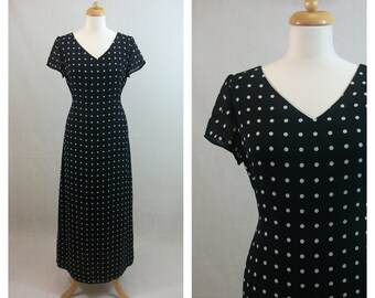 90s vintage long dress. LIZ CLAIBORNE VILLAGER by black white polka dot dress. Long dress. Maxi dress. Spring summer dress. Size M - L.