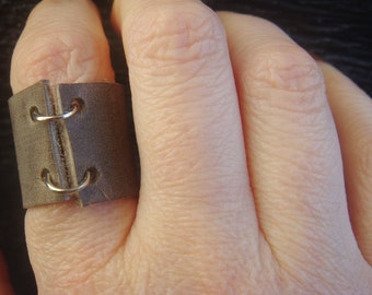 Leather Ring - Boho Ring - Grey Leather Ring - Leather Ring - Leather Band - Minimalist Jewelry - Unisex