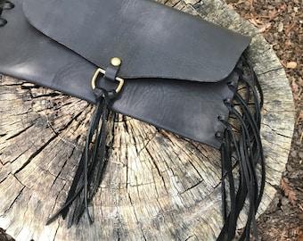 Black Fringed Clutch