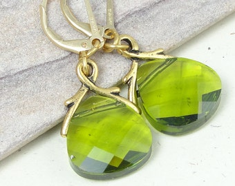Olive Green Earring Leverback Earrings Swarovski Crystal Jewelry Sparkling Olivine Dangle Earrings Elegant Gifts for Women Office Jewelry
