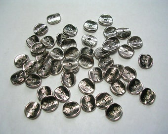 Antique Silver, Wavy Cupped Spacers, Bead caps, Accents, Washer, Jewelry Findings, 100 Pieces