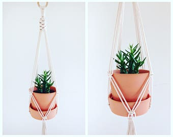 "Macrame Plant Hanger / Natural Cotton / 39"" Long"