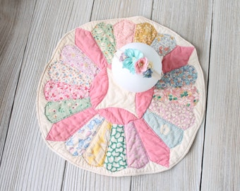 SET Vintage Decke Schicht Kreis und Raffhalter, Mini Baby Quilt Decke Foto Prop, Rosa neugeborenen Mädchen, bereit zum Versand