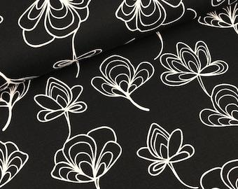 Furnishing fabric ginkgo leaves white on black (8.50 EUR/meter)
