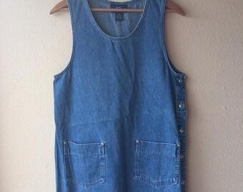 90s Pockets Button-Side Denim Dress // 90s Jean Jumper Mini Dress