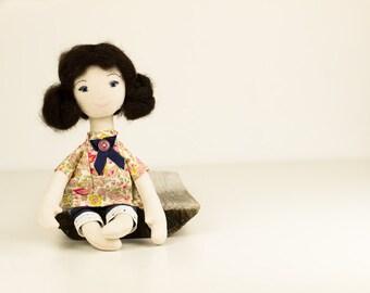 Primitive rag doll. Handmade fabric doll, stuffed human figure doll, OOAK