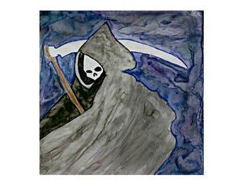Grim Reaper Painting, Grim Reaper Art, Grim Reaper, Reaper Art, Reaper Painting, Reaper, Gothic Art, Gothic Painting, Gothic, Original Art