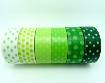 Green Polka Dots Washi Tape Set of 6 Rolls - 5m Dots Masking Tape Gift Wrapping