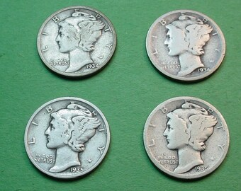 Mercury Dimes  X's 4 1934 P D & 1935 P D Silver FREE Shipping In United States # ET205