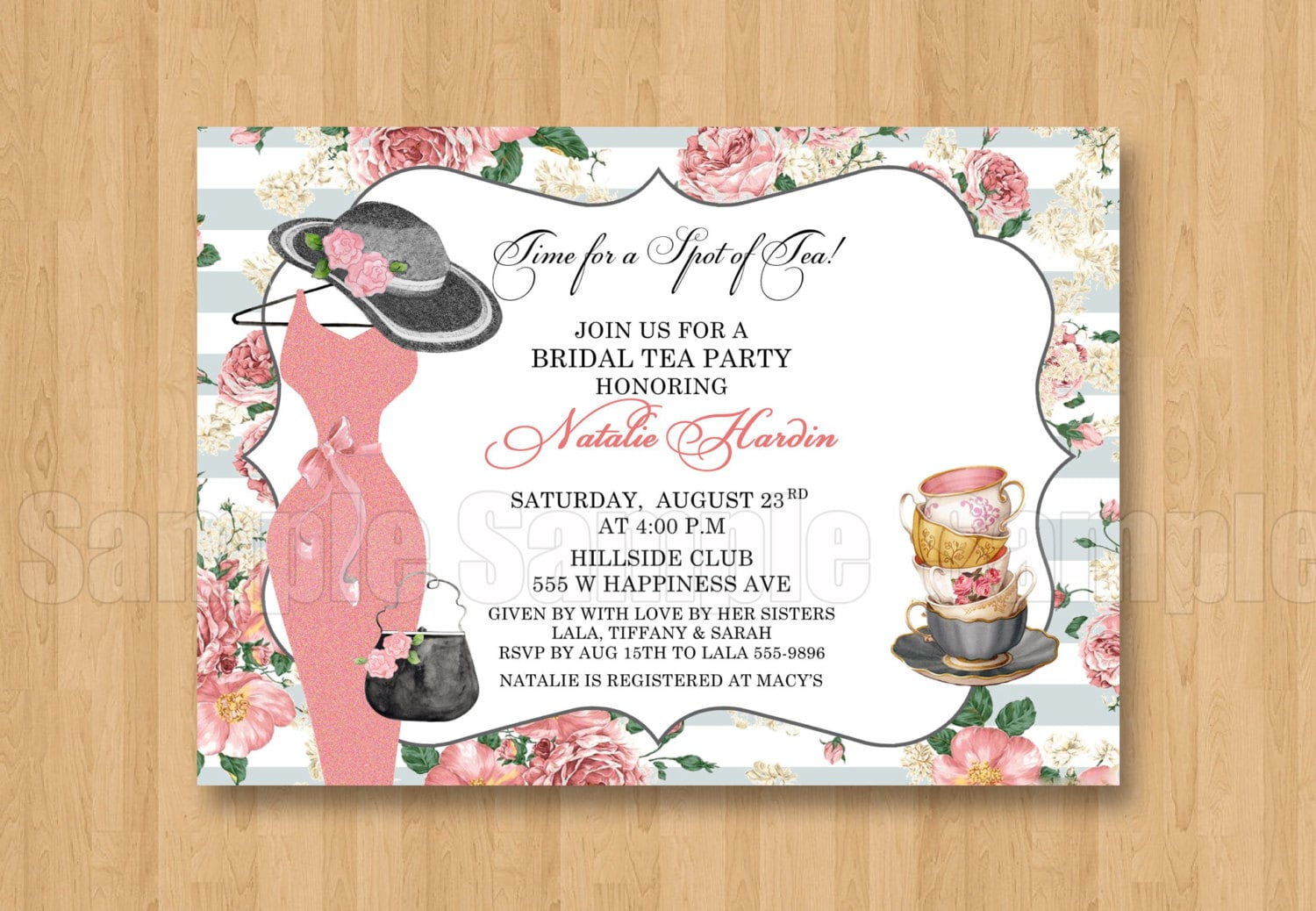 Spot of tea fancy hat dress birthday bridal shower spot of tea fancy hat dress birthday bridal shower personalized invitation digital file gray pink stopboris Image collections