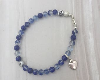 Blueberry Quartz weight loss tracker bracelet, slimming aid, weight loss, lifestyle aid, weight watchers, gift for her, blue quartz bracelet