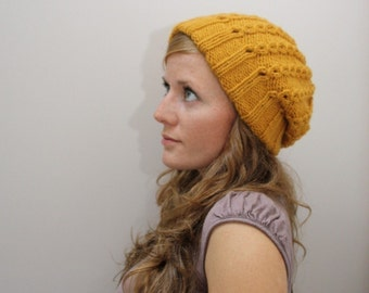 KNITTING PATTERN // Jane hat // eyelet mock cable toque with double brim -- PDF