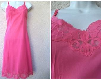 "1960s Vanity Fair FULL SLIP. Silky Nylon Slip. Vanity Fair Slip. Pink Slip. Slip Dress. Lace Trim. Honeymoon Wardrobe. Pink. S  32"" Bust"
