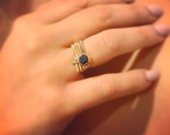 Unique SAPPHIRE ENGAGEMENT Ring - Bezel set Sapphire Engagement Ring- Something blue