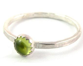 Peridot Cabochon Sterling Silver Stacking Ring