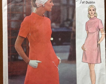 Vogue 2336 Couturier Design by Sybil Connolly of Dublin Curved Raised Waist Dress with Stand Collar, No Side Seams - Size 12 Bust 34