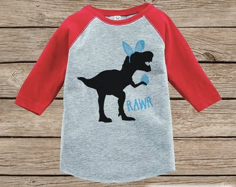 Boys Easter Outfit - Dinosaur Easter Shirt  - Boy Easter Egg Hunt Shirt - Baby, Toddler, Youth - Bunny Ears - Easter Egg - Red