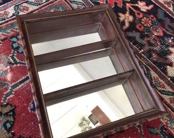 Vintage Mirrored Curio Shelf- Mirrored Shelf