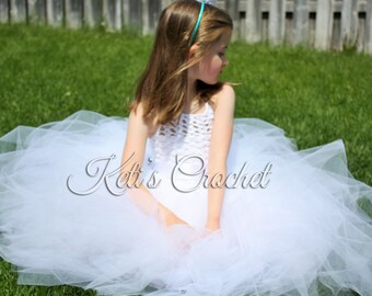 Tutu Dress,Wedding Tutu Dress,White Crochet Tutu Dress,Girls Christening Dress,Flower Girl Dress,Baby Tutu Dress,Prom Dress,Crocheted Dress