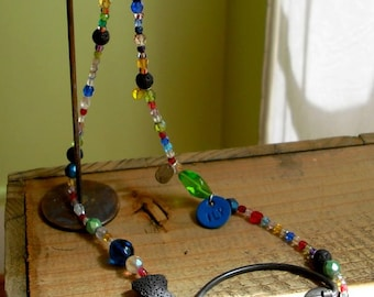 Bohemian crystal Pearl Necklace and its little fish lava
