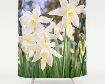 White Flower Shower Curtain, Floral Shower Curtain, Green Bathroom Decor, Botanical Print Bath Mat Yellow Daffodil Art Shower Curtain Spring