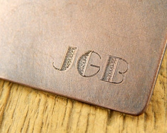 Money clip, engraved money clip, large initials, custom monogram copper money clip.