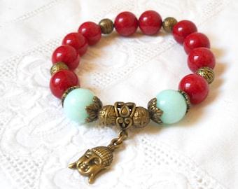buddha bracelet stretch bracelet boho bracelet yoga bracelet bohemian bracelet gemstone bracelet gypsy bracelet pale green