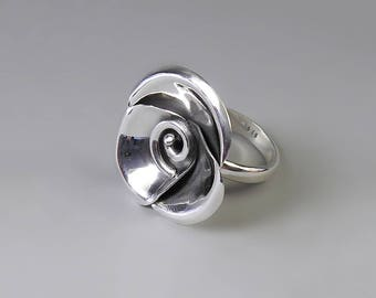Rose Ring Sterling Silver Ring 3d Ring Camellia Ring Garden Ring Flower Ring Floral Ring Big Ring Bold Ring Chunky Ring Great Gift For Her