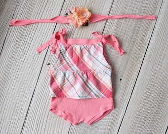 Coral Newborn Romper Onesie with Plaid Ruffle Top Photography Prop SET- Newborn Baby Girl - Ready to Ship