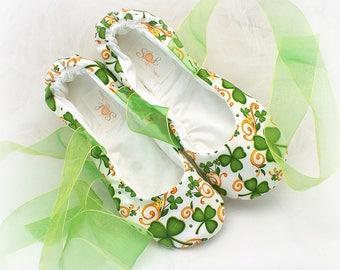 Irish Green Flats,Ballet Flats,Clover Flats,,Irish Wedding Flats, St Patrick Flats,Ballet Slippers,Elegant Wedding,Celtic Ballet Flats,Shoes