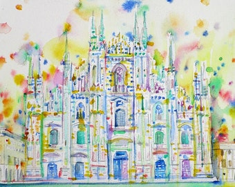 MILAN CATHEDRAL / DUOMO - original watercolor painting - one of a kind!