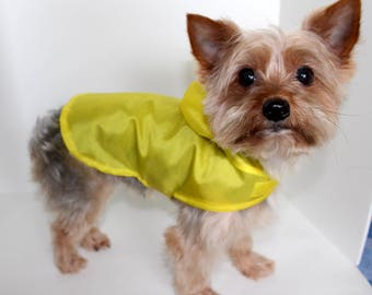Yellow Dog Windbreaker, XS yellow nylon dogs jacket, lightweight dog clothing hoodie