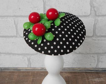 fascinator polka dots & cranberries