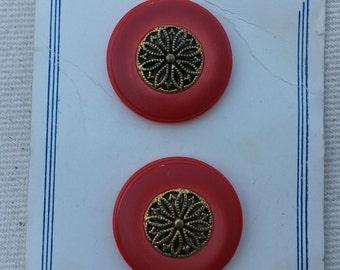 Vintage Red Plastic/Metal Floral Shank Buttons