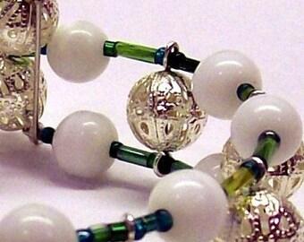 Cream and Green Spiral Bangle Bracelet