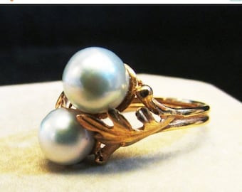 On Sale Vintage Estate 14 K Lustrous  Gray Baroque Pearl By Pass Style Ring