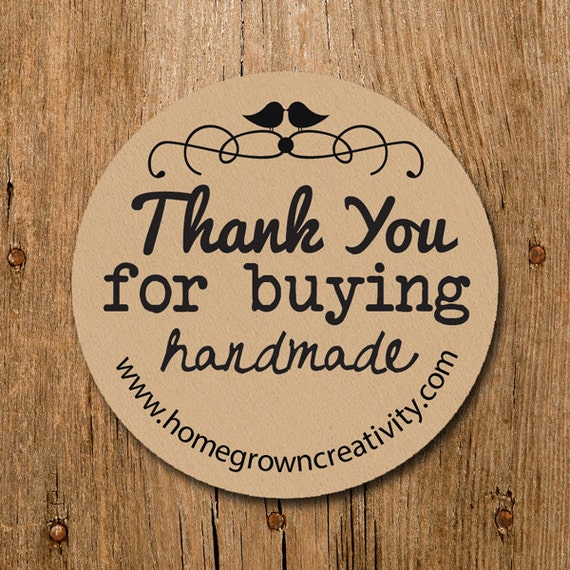 Customized thank you for buying handmade stickers typewriter text labels wedding birthday party thank you stickers from homegrowngems on etsy