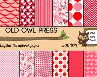 Scrapbook Paper, Digital Paper, Printable Paper, Digital Design, Designer Paper, Instant Download, Paper Pack, Valentine Paper, Commercial