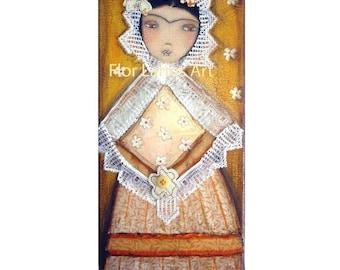 Frida Tehuana - impression de peinture par FLOR LARIOS (5 x 10 pouces)