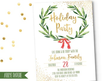 Holiday Party Invitation,Christmas Party Invite,Holiday Party Invites,Christmas Party Printable,Festive Christmas Party Invitation,Wreath