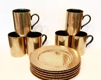 Vintage Fitz and Floyd Mugs and Plates, Svc 6, Foulard Pattern, Japan
