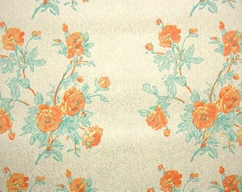 1940s Vintage Wallpaper by the Yard - Vintage Kraft Paper Extra Wide Orange Roses