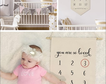 "You are so loved- (Black Ink) Baby Milestone Hanging Canvas Newborn Decor & Photo Prop- 100% Natural Canvas 22.5""H x 12.5""W- Customize"