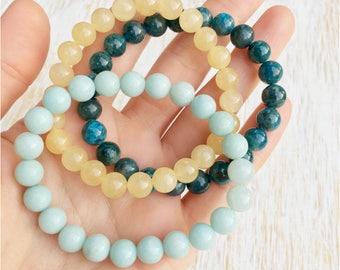 Amazonite Apatite Calicite Bracelet Set, Mala Beads Bracelet, Gemstone Bracelet, Boho Bracelet, Buddhist Jewelry, Healing Crystal Bracelet