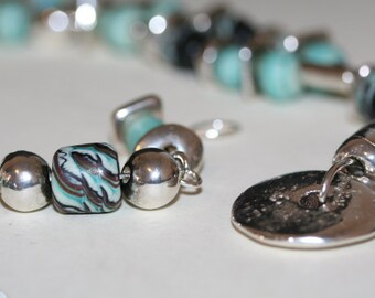 Free Shipping, Southwest Necklace, High End Lampwork, Boho Necklace, Turquoise Color, Silver, Hammered Silver