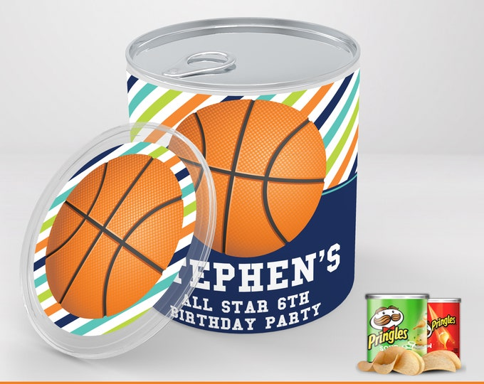 Basketball Birthday Party Mini Pringles Label - Mini Pringles Wrapper, Basketball Party | Editable Text - Instant Download PDF Printable