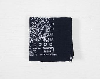 Vintage NOS Paris Bandana Indigo Blue Colorfast Paisley Print Handkerchief Made in USA